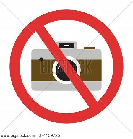 Photo Camera Forbidden. Banned Camera Crossed Simple Colorful Icon. Not Allowed To Take A Photos Sig
