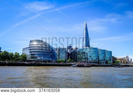 London/uk - June 3, 2017 - Cityscape View, The Shard Tower And City Hall Buildings On Thames River