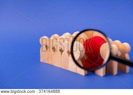 Loupe Lens Enlarging Viewing Looking For New Candidate Cv Resume Talent Wooden Figures Choosing Hiri