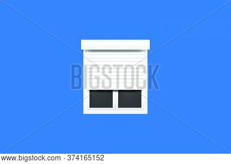 Window With Roller Shutters.vector Illustration.isolated On Blue Background.