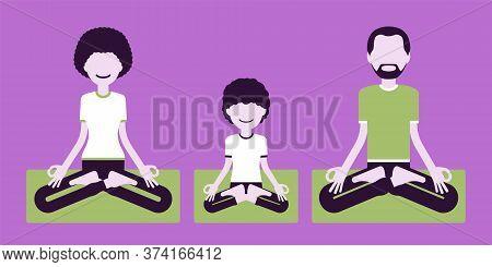Happy Yogi Family In Sports Wear Practicing Yoga, Meditating Doing Padmasana Pose, Lotus Exercise, Y