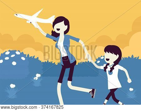 Happy Family, Mother, Daugther Playing With A Toy Airplane. Parent With Child Running Outdoor Holdin