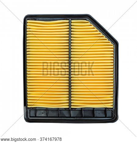 Automoble Yellow Air Filter Isolated on White Background. Auto Spair Parts.