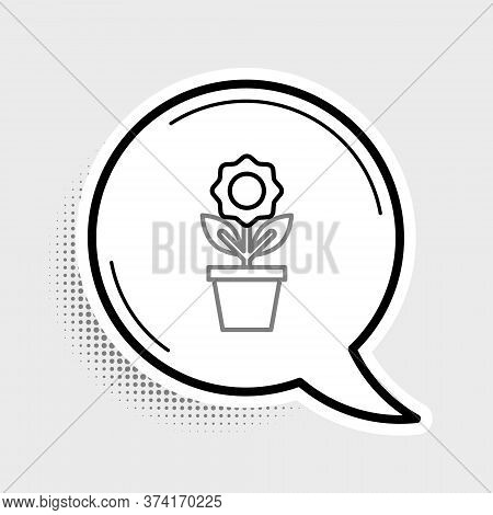 Line Flower In Pot Icon Isolated On Grey Background. Plant Growing In A Pot. Potted Plant Sign. Colo