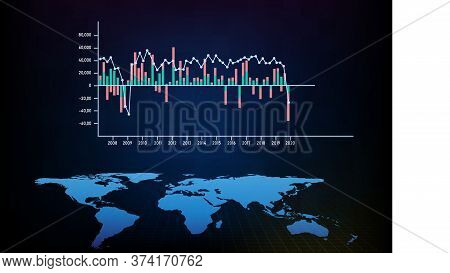 Abstract Background Blue Gdp Growth Graph And World Map, World Economy Stock Market