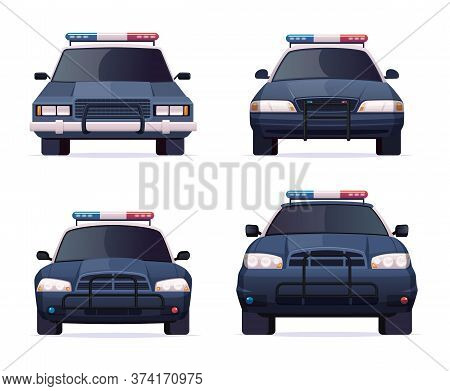Cartoon Modern Police Car Collection. Vector Object Isolated On White, Front View. Police Sedan And