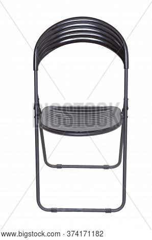 Black Plastic Folding Office Chair For Spectators Isolated On White Background. Front View. Modern F