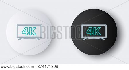 Line Screen Tv With 4k Ultra Hd Video Technology Icon Isolated On Grey Background. Colorful Outline