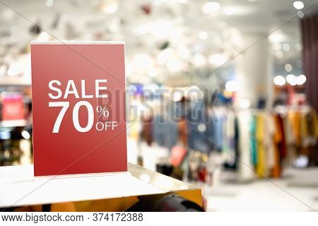 Sale Label Stand Template On Shelve In Clothing Store For Sale Promotion And Discount Information Fo