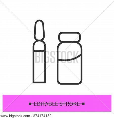 Ampule Icon. Face Skin Care And Wellness Serum And Capsule Linear Pictogram. Concept Of Effective Ko