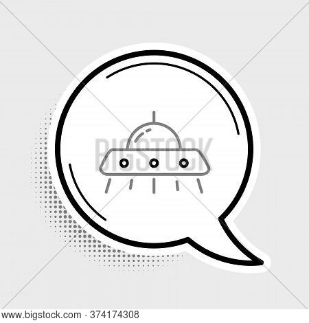 Line Ufo Flying Spaceship Icon Isolated On Grey Background. Flying Saucer. Alien Space Ship. Futuris