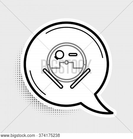 Line Robot Vacuum Cleaner Icon Isolated On Grey Background. Home Smart Appliance For Automatic Vacuu