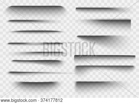 Paper Shadow Effect. Realistic Transparent Overlay Shadows. Vector