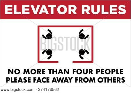 Elevator Sign To Promote Social Distancing | Elevator Rules To Prevent The Spread Of Virus And Disea