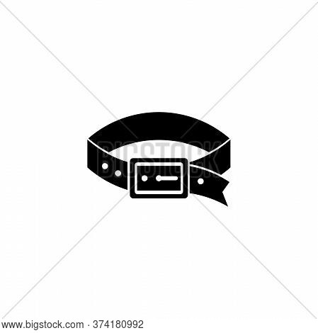 Leather Puppy Dog Collar, Watchdog Belt. Flat Vector Icon Illustration. Simple Black Symbol On White
