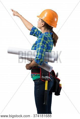 Young Civil Engineer In Hard Hat Holding Paper Blueprints. Woman Architect In Workwear Pointing Upwa
