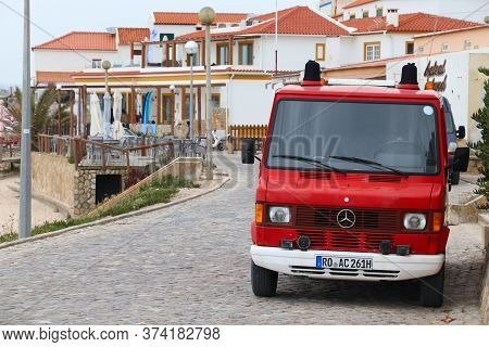 Baleal, Portugal - May 22, 2018: Cheap Oldtimer Backpacker Camper Van Repurposed From Mercedes-benz