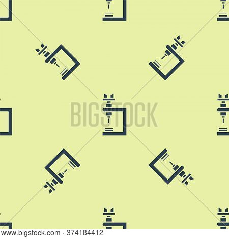 Blue Microscope Icon Isolated Seamless Pattern On Yellow Background. Chemistry, Pharmaceutical Instr