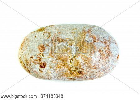 Red And Wet Sea Stone Isolated On White Background. Top View With Copy Space