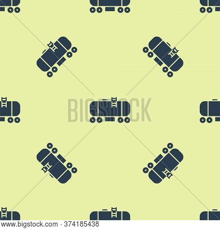 Blue Oil Railway Cistern Icon Isolated Seamless Pattern On Yellow Background. Train Oil Tank On Rail