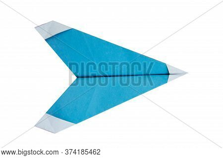 Origami White Paper Plane Isolated On White Background.