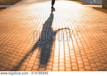 Girl Riding A Skateboard In The Park In The Setting Sun