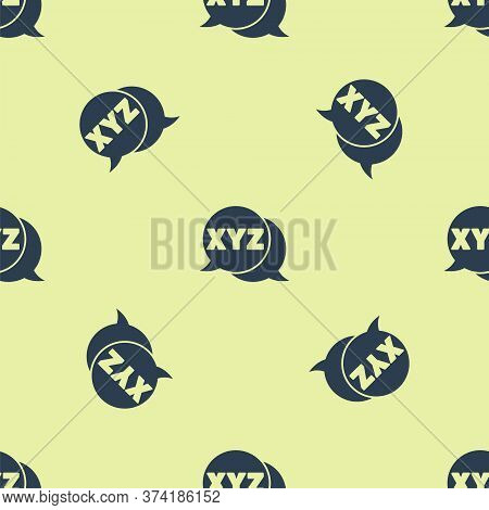 Blue Xyz Coordinate System Icon Isolated Seamless Pattern On Yellow Background. Xyz Axis For Graph S