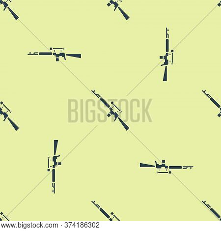 Blue Sniper Rifle With Scope Icon Isolated Seamless Pattern On Yellow Background. Vector Illustratio