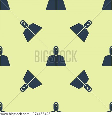 Blue Anonymous Man With Question Mark Icon Isolated Seamless Pattern On Yellow Background. Unknown U