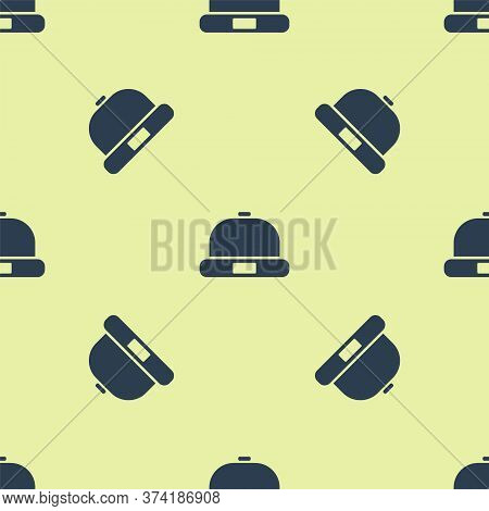 Blue Beanie Hat Icon Isolated Seamless Pattern On Yellow Background. Vector Illustration
