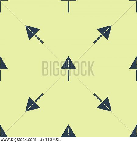 Blue Exclamation Mark In Triangle Icon Isolated Seamless Pattern On Yellow Background. Hazard Warnin