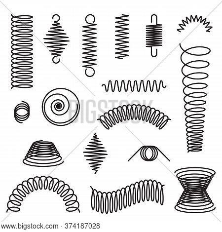 Metal Spirals Set. Flexible Spring, Industrial Coil, Springy Curve. Vector Illustrations For Compres