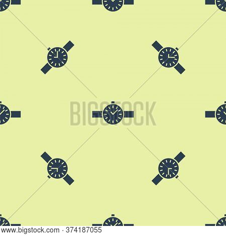 Blue Wrist Watch Icon Isolated Seamless Pattern On Yellow Background. Wristwatch Icon. Vector Illust