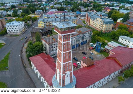 Rybinsk, Russia - July 14, 2019: Old Fire Tower By Close-up On A July Day (shooting From A Quadrocop