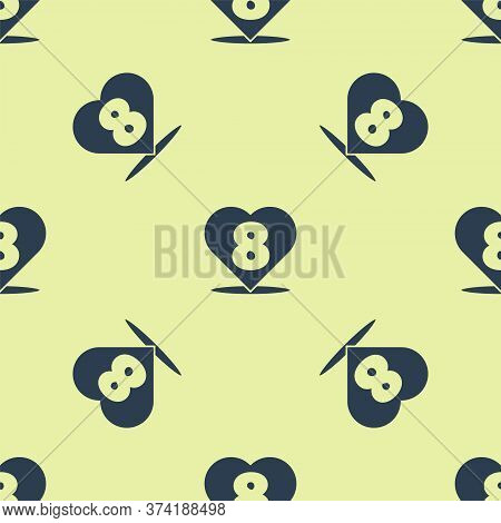 Blue Heart With 8 March Icon Isolated Seamless Pattern On Yellow Background. Romantic Symbol Linked,