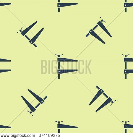 Blue Clamp Tool Icon Isolated Seamless Pattern On Yellow Background. Locksmith Tool. Vector Illustra