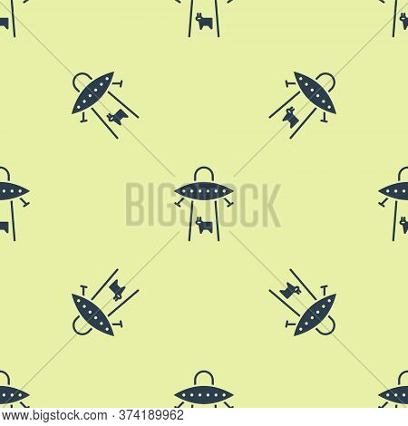 Blue Ufo Abducts Cow Icon Isolated Seamless Pattern On Yellow Background. Flying Saucer. Alien Space