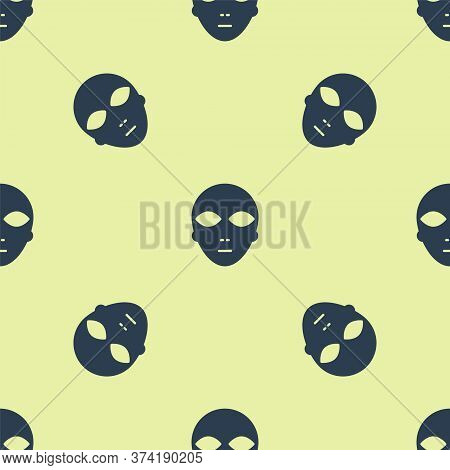 Blue Alien Icon Isolated Seamless Pattern On Yellow Background. Extraterrestrial Alien Face Or Head