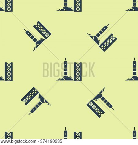 Blue Rocket Launch From The Spaceport Icon Isolated Seamless Pattern On Yellow Background. Launch Ro
