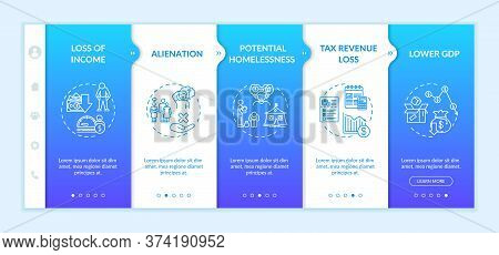 Unemployment Effects Onboarding Vector Template. Loss Of Income And Tax Revenue, Lower Gdp, People A