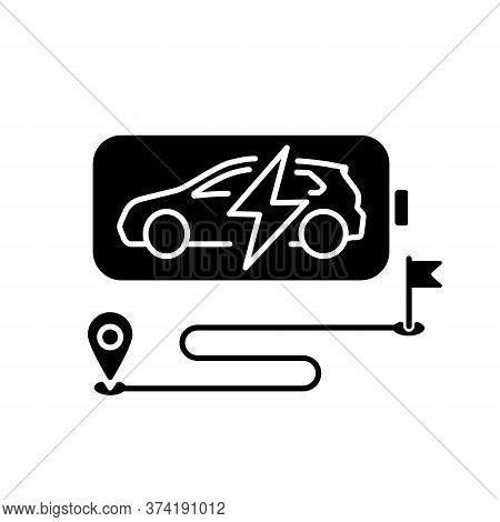 Battery Range Black Glyph Icon. Electric Vehicle Max Travel Distance Silhouette Symbol On White Spac