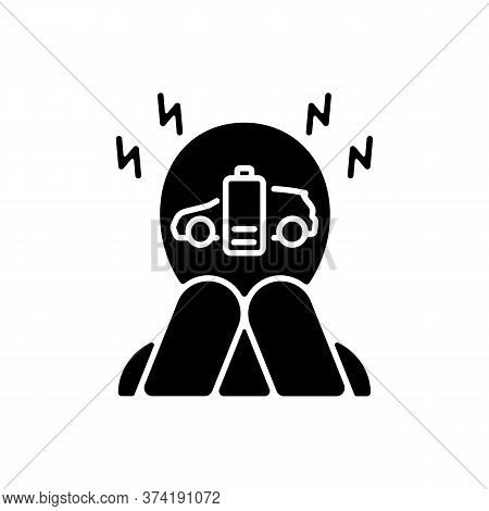 Range Anxiety Black Glyph Icon. Electric Vehicle Owner Stress, Psychological Problem Silhouette Symb