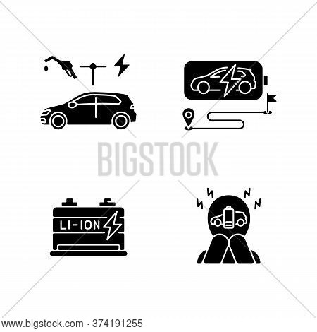 Electric Vehicles Travel Black Glyph Icons Set On White Space. Hybrid Cars, Lithium Ion Battery Rese
