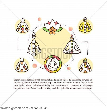 Yoga Concept Icon With Text. Meditation For Self Understanding. Chakras On Body Chart. Ppt Page Vect
