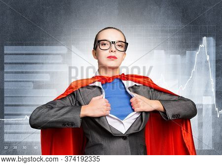 Pretty Business Woman Tearing Off Her Shirt And Transforming In Super Heroine. Business Lady With Re