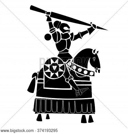 Black Knight. Horse Knight Illustration In Silhouette
