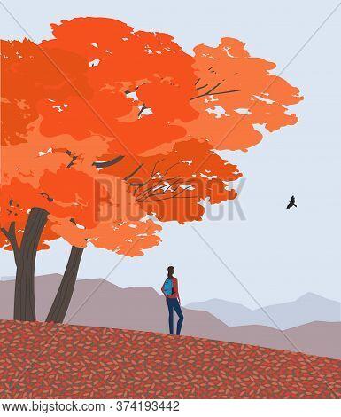 Autumn Nature Landscape. Colorful Scene Cartoon. Fall Season Countryside Scene Banner Background. Gi