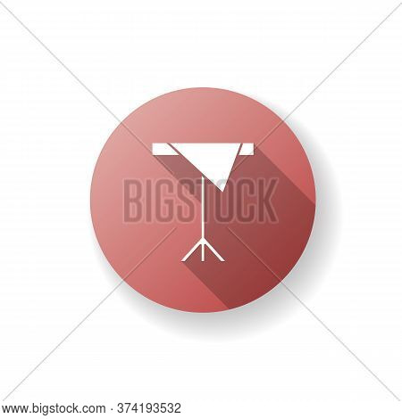 Table With Cloth Red Flat Design Long Shadow Glyph Icon. Diner Serving. Furniture For Cafe And Canti