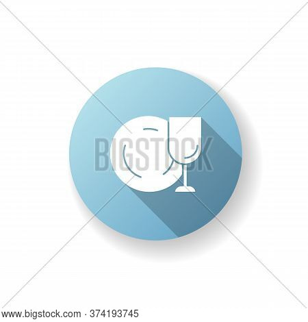 Tableware Blue Flat Design Long Shadow Glyph Icon. Clean Dish And Glass. Kitchen Dinnerware. Empty C