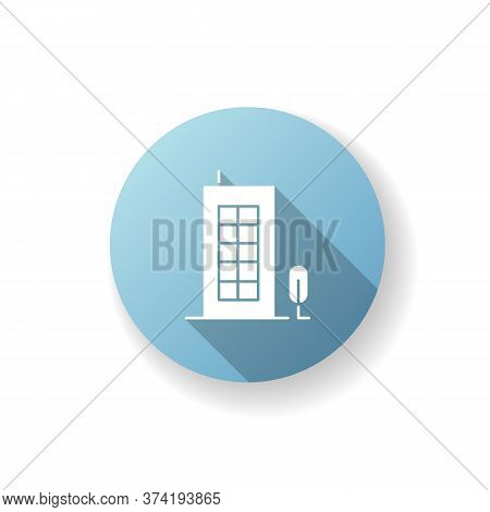 Building Blue Flat Design Long Shadow Glyph Icon. Tall Construction With Apartments. Urban Condomini